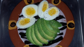 With slice avocado, a little sea salt and cracked black pepper